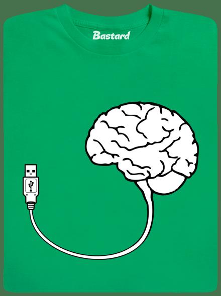 06a203c8e8f USB mozek zelené pánské tričko - Trička s potiskem