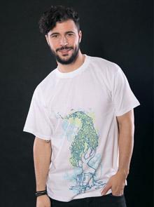 Nature vs. Technology bílé pánské tričko