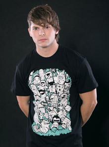 Doodle černé pánské tričko