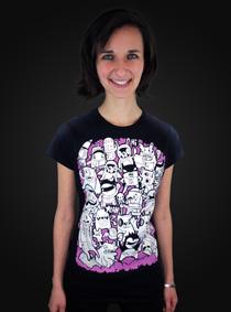 Doodle černé dámské tričko