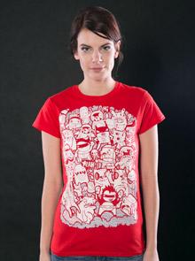 Doodle červené dámské tričko - Trička s potiskem bbee1de3e6