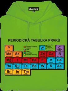 Periodická tabulka zelená pánská mikina