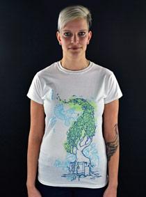 Nature vs. Technology bílé dámské tričko