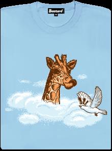 Žirafa v oblacích dámské tričko