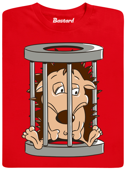 Ježek v kleci červené pánské tričko